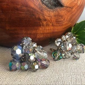 Vtg Smoky Aurora Borealis Cluster Earrings